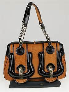 Fendi B Patent Bag by Fendi Brown Leather And Black Patent Leather B Bag Yoogi