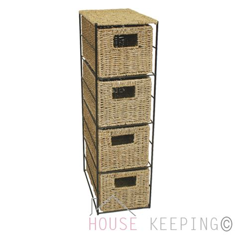 4 Drawer Wicker Storage Unit by Seagrass 4 Drawer Tower Home Storage Basket Unit Rack