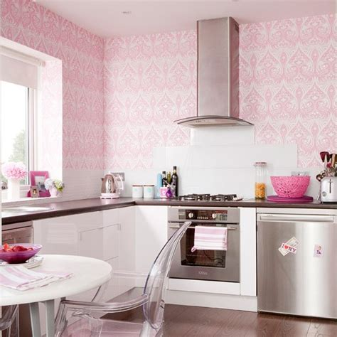 pink kitchens pink girly kitchen wallpaper kitchen wallpaper ideas 10 of the best housetohome co uk