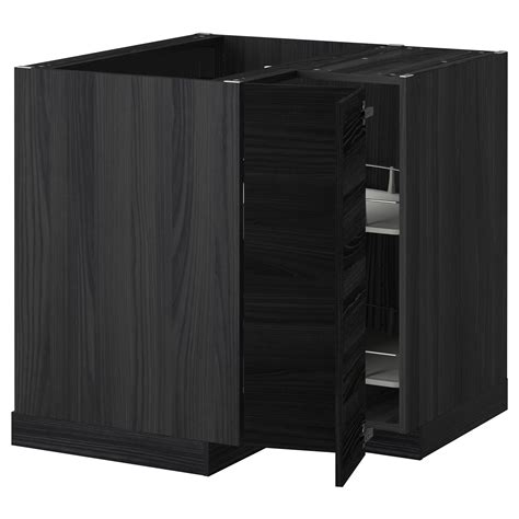 Black Corner Cabinet For Kitchen Metod Corner Base Cabinet With Carousel Black Tingsryd Black 88x88 Cm Ikea