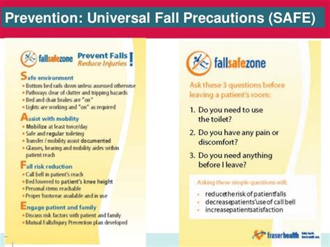 recommendations and universal precautions for the prevention of falls prevention injury reduction getting started kit