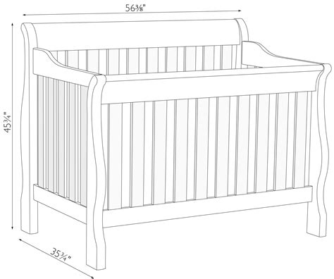 Baby Crib Measurements by Sleigh Slat Crib Amish Traditions Wv