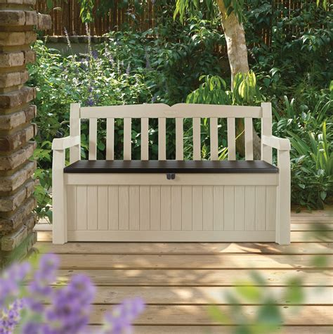 b q garden bench eden plastic garden storage bench departments diy at b q
