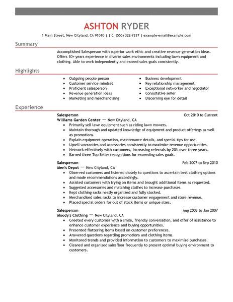 Best Professional Resume Samples by Best Retail Salesperson Resume Example Livecareer