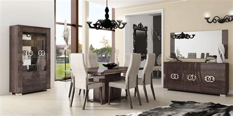 roma dining walnut italy modern formal dining sets made in italy extendable in wood microfiber seats modern