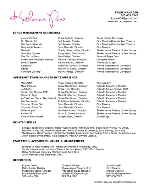 stage manager resume resume ideas
