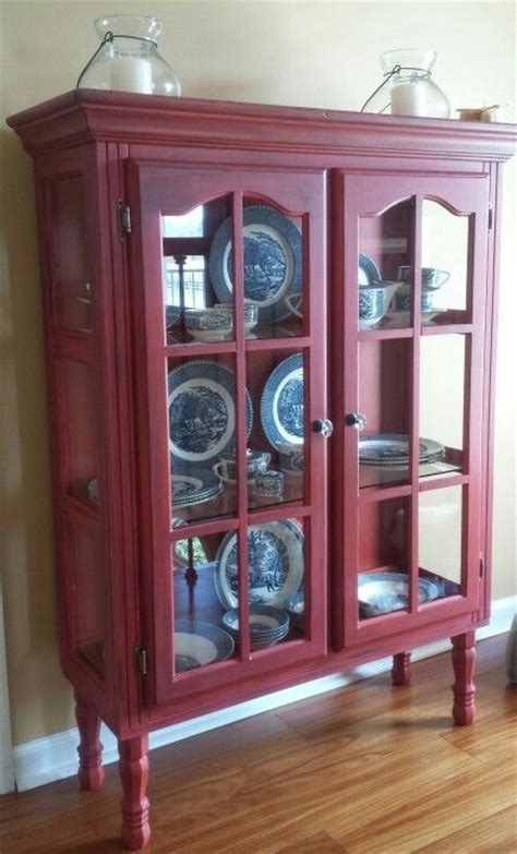 china cabinet with legs repurposed top of hutch into red distressed cabinet added