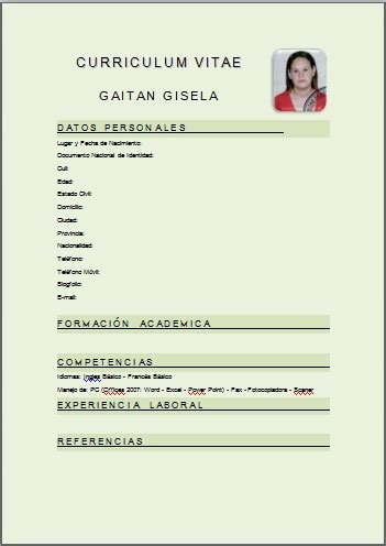 Curriculum Vitae Modelo Para Completar Gratis E Imprimir Blogfolio De Gisela Gaitan Curriculum Vitae