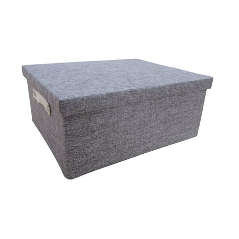 bathroom storage boxes with lids buy grey linen rectangular storage box with lid