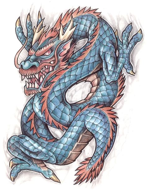 coloured dragon tattoo design img19 171 dragons 171 classic