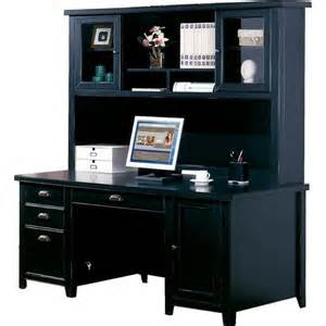 buy tribeca loft black double pedestal desk amp hutch by