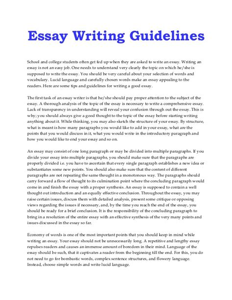 Essays Writing In by Guidelines To Write An Essay