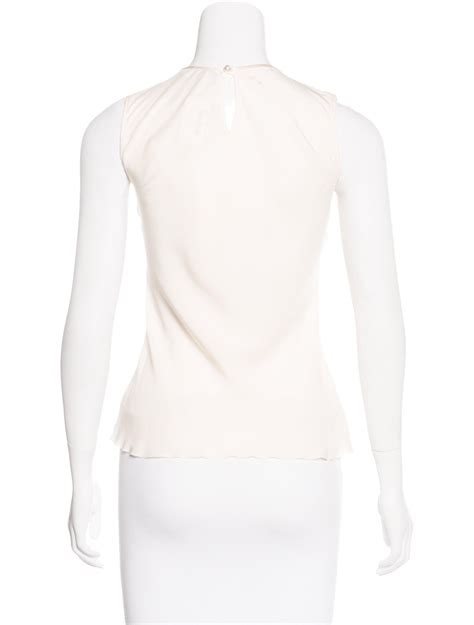 chanel pleated silk top clothing cha178831 the realreal chanel silk pleated top w tags s in white lyst