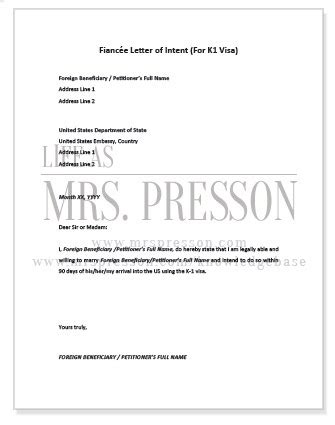 Letter Of Intent K1 Sle k1 visa requirements and checklist as mrs