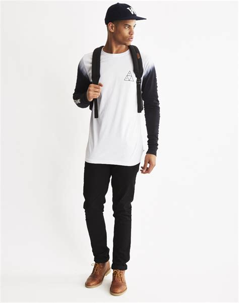 Kaos Sleeve Huf Triangle Black Dyed huf triangle sleeve dye t shirt black in black for lyst