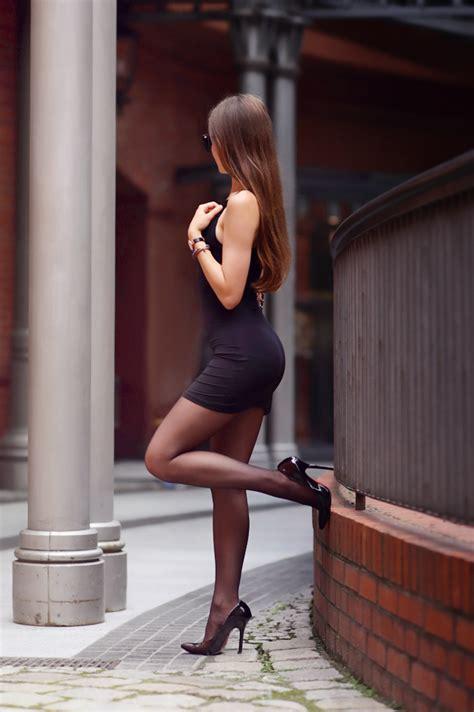 high heels dress i tight mini dress and high heels she has
