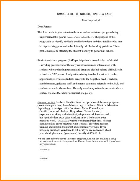 Introduction Letter To Parents 4 Sle Introduction Letter To From Student Introduction Letter
