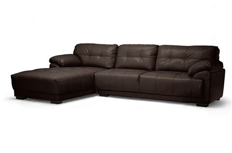 chocolate brown sectional sofa with chaise baxton studio ids065lt chocolate lfc decarlo dark brown
