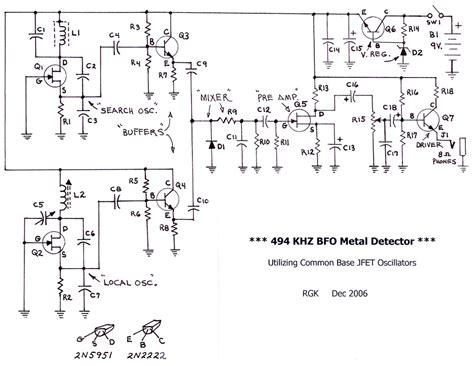 bfo metal detector circuit diagram bfo metal detector beat frequency oscillator