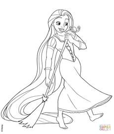 rapunzel sweeping coloring free printable coloring pages