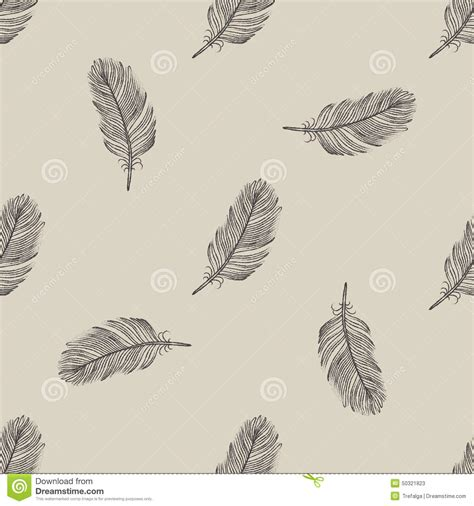Vintage Pattern Flying | vintage flying feather seamless pattern stock vector