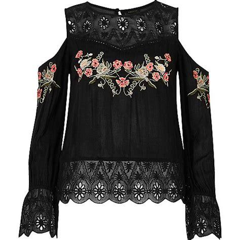 Shoulder Embroidery Top black embroidered cold shoulder top bardot cold