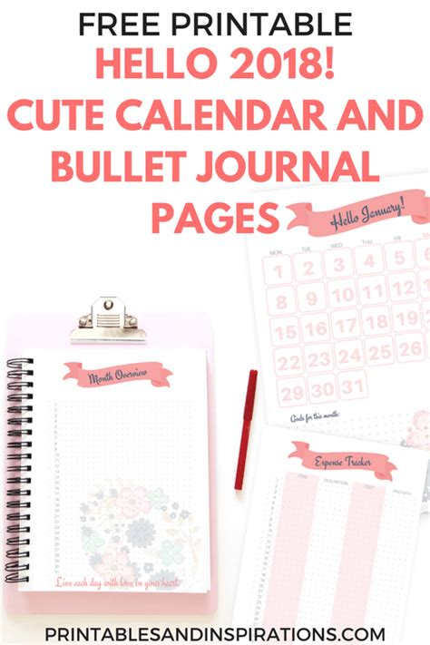 free printable daily agenda half size journals hello 2018 cute calendar and bullet journal printable