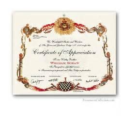 masonic certificates awards and diplomas freemason