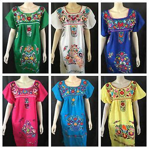Black Ethnic Dress Size M L 8336 any color peasant vintage tunic embroidered mexican dress