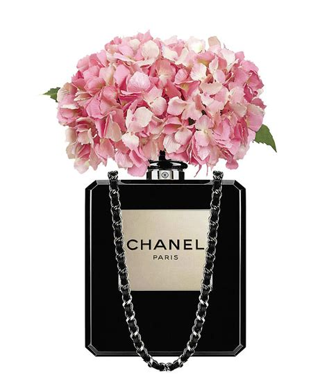 Parfum Chanel Pink chanel perfume bag with pink hydrangea 2 painting by