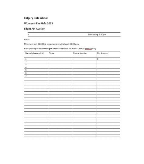 auction sheets template 40 silent auction bid sheet templates word excel