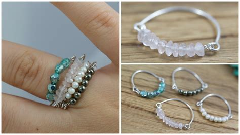 how to use beading wire diy bead wire stacked rings jewelry tutorial