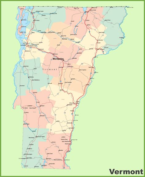map of usa vermont road map of vermont with cities