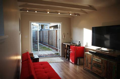 Family Room Garage by Garage Conversion Alameda Eclectic Family Room