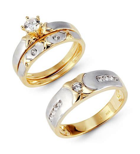 14k solid white yellow gold xo cz wedding rings trio