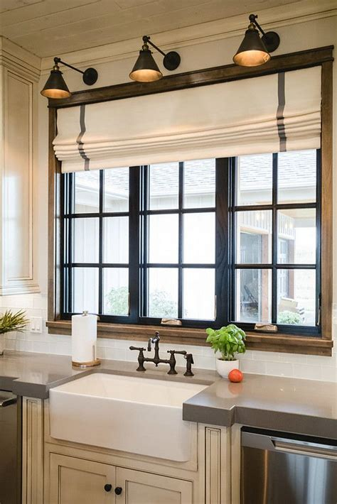 light over kitchen sink window corner plans breakfast nook painted black window trim in the kitchen diy farmhouse