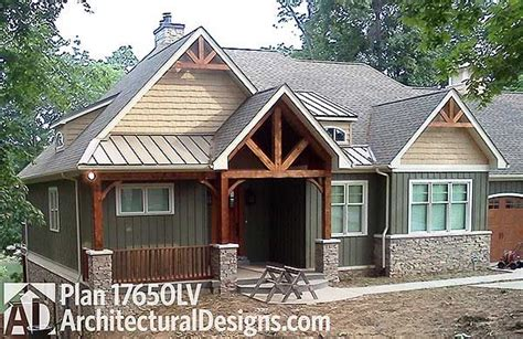 walkout ranch house plan surprising sloped lot plans plan 17650lv rugged craftsman home for a sloping lot