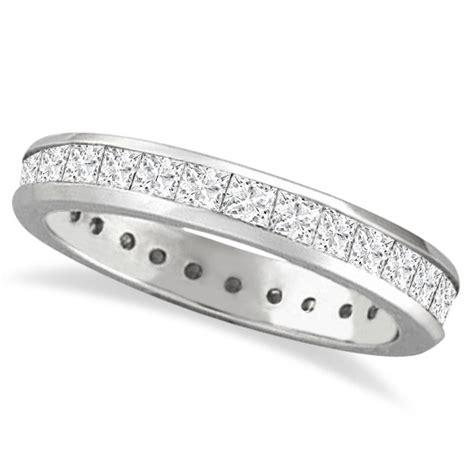 White Topaz 5 56ct Tp1650328 channel set princess cut eternity ring 14k white