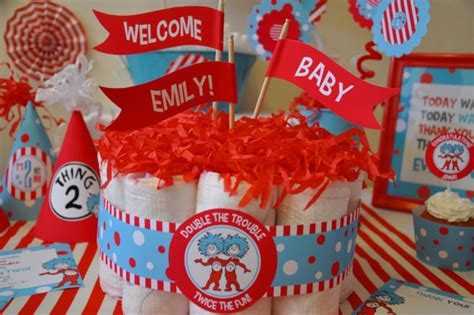 Thing1 And Thing 2 Baby Shower Theme by Dr Seuss Baby Shower Theme Baby Shower Ideas