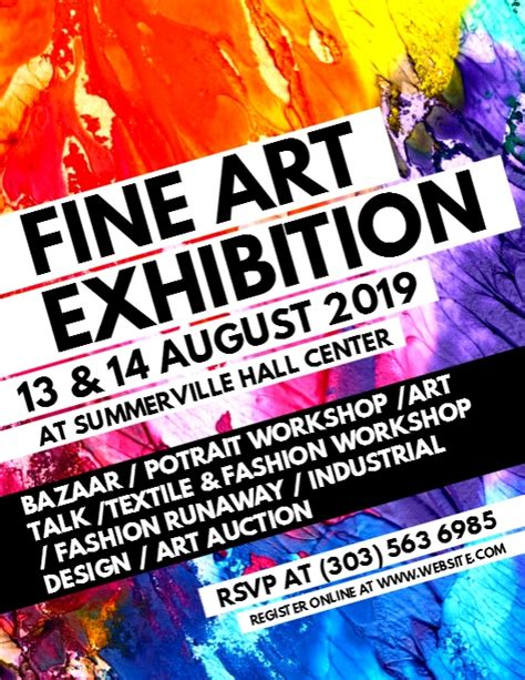fine art exhibition flyer template postermywall