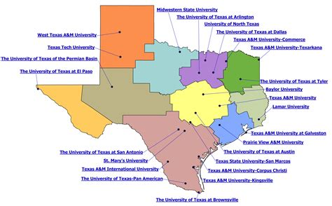 map of universities in texas thecb