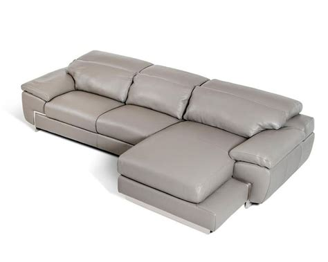 Gray Leather Sectional Sofa Leather Sectional Sofa In Grey Finish 44l5934