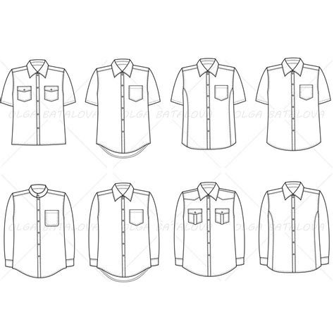 clothing templates for illustrator s button shirt fashion flat template