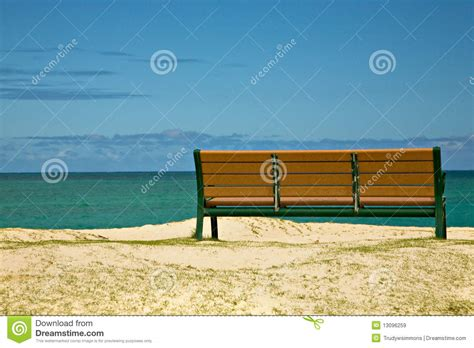 a view from the bench bench with view of the ocean royalty free stock images image 13096259