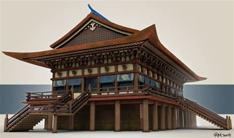 japanese temple style building 3d model by rasherusuzie on
