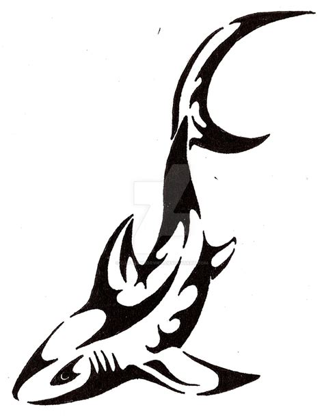 tribal shark tattoos black outline shark design