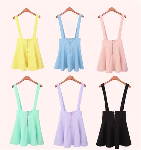 new pastel suspender skirt high