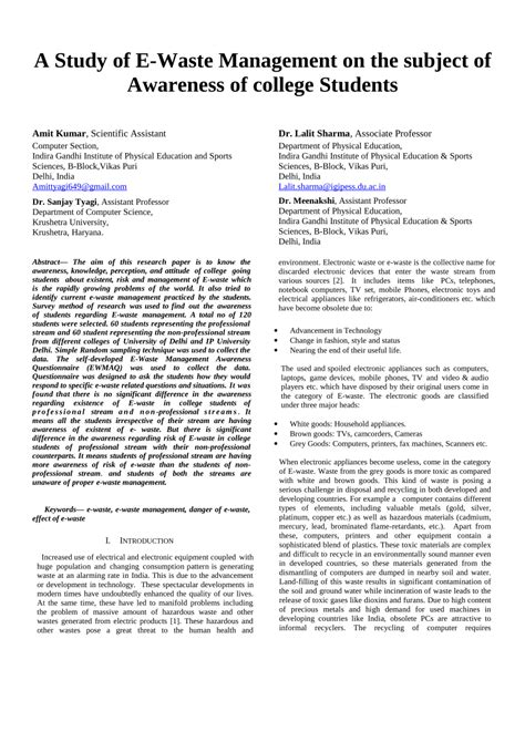 research paper on e waste management a study of e waste management on the pdf