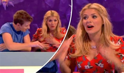 celebrity juice not on itv player holly willoughby s boobs whacked by greg james in