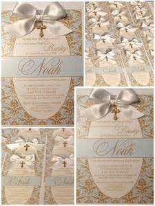 baptism invitations madebyme baby boy baptism invitations with bow gold and baby blue